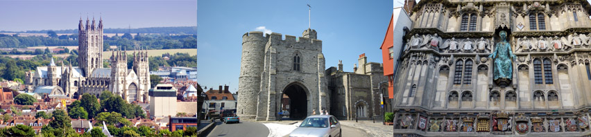 A picturesque view of Canterbury, the Westgate, detail on Christchurch Gate