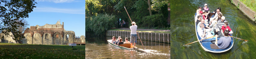 St Augustine's Abbey, punting on the Stour River, rowing