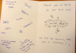 A typical thank you note from our students